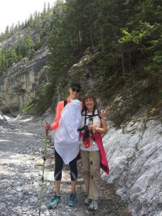 With my Momma, Mountain Mommas Hiking Group, Grotto Canyon, Canmore